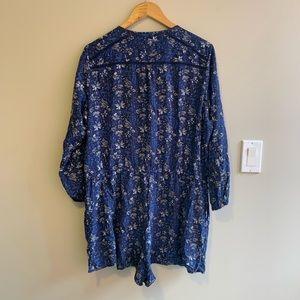 Blue Long Sleeve Romper